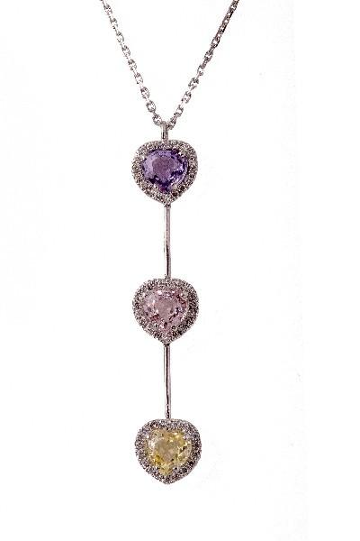 Collier coeurs saphirs de couleur et diamants
