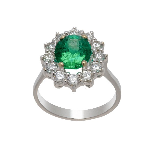 BAGUE EMERAUDE ENTOURAGE DIAMANTS