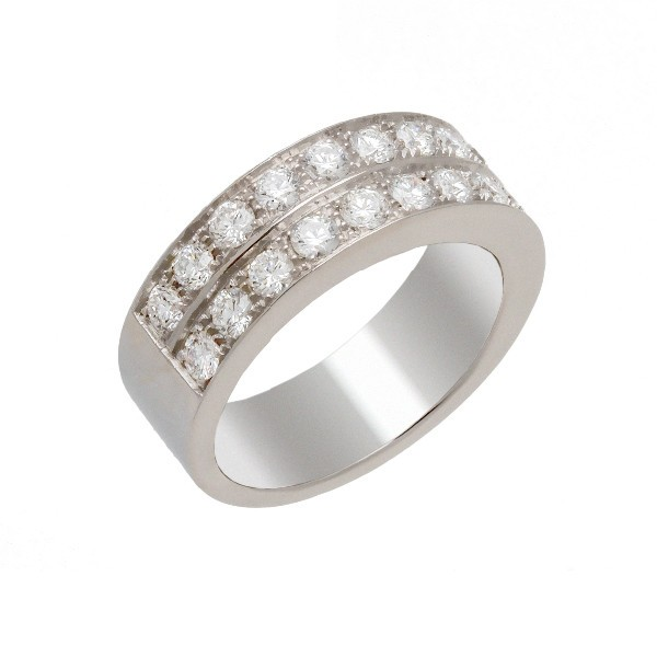 Bague 2 rangs diamants