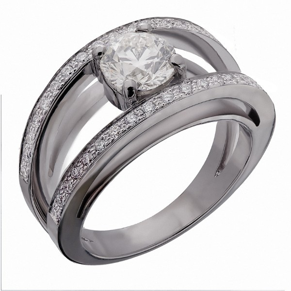 BAGUE SOLITAIRE DIAMANTS SERTI D'UN DIAMANT CENTRAL DE 0,92 CARAT