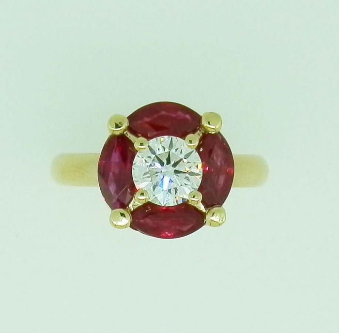 Bague ronde rubis et diamant