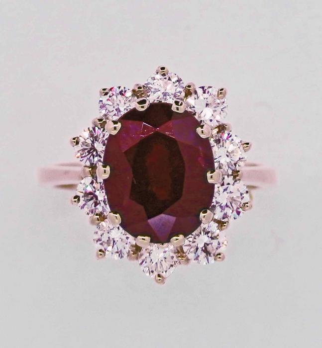 Exceptionnel Bague marguerite rubis et diamants - Bijouterie Joaillerie à Paris GC52