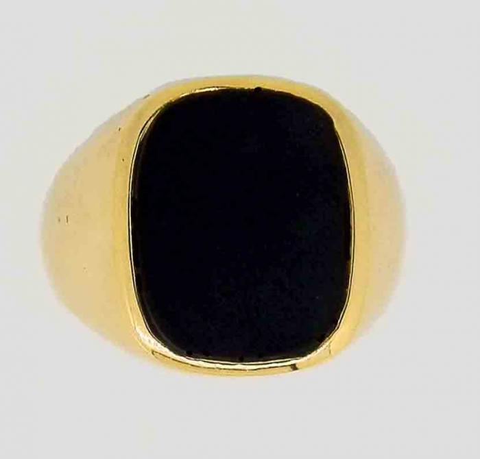 Chevalière tonneau onyx