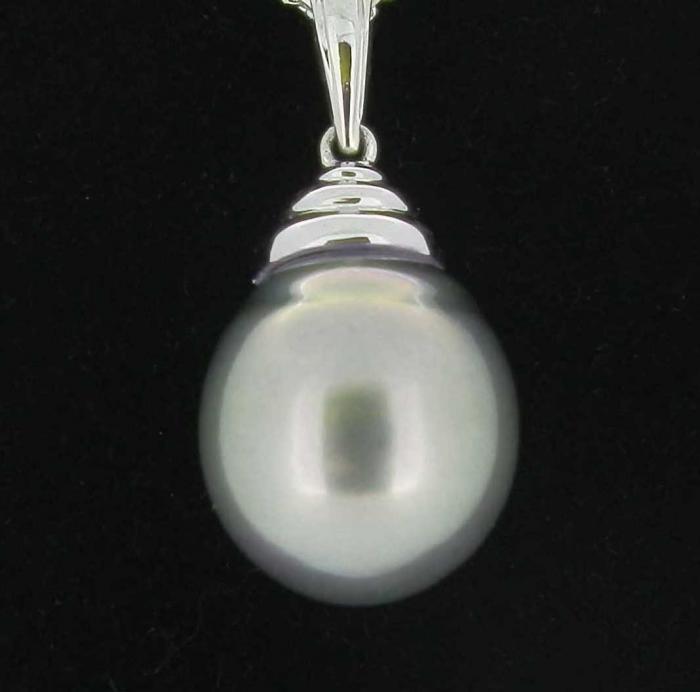 pendentif perle grise