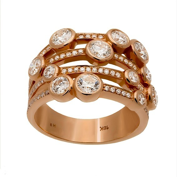 Bague or rose et diamants
