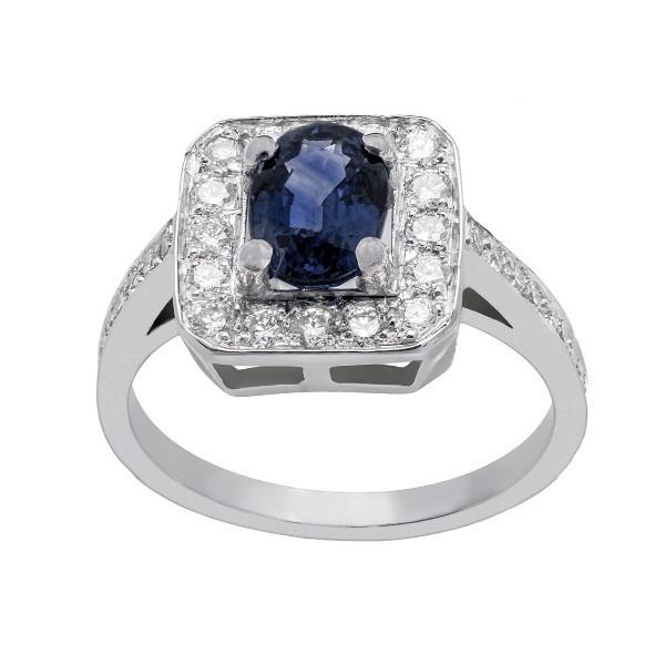 Bague saphir entourage diamants