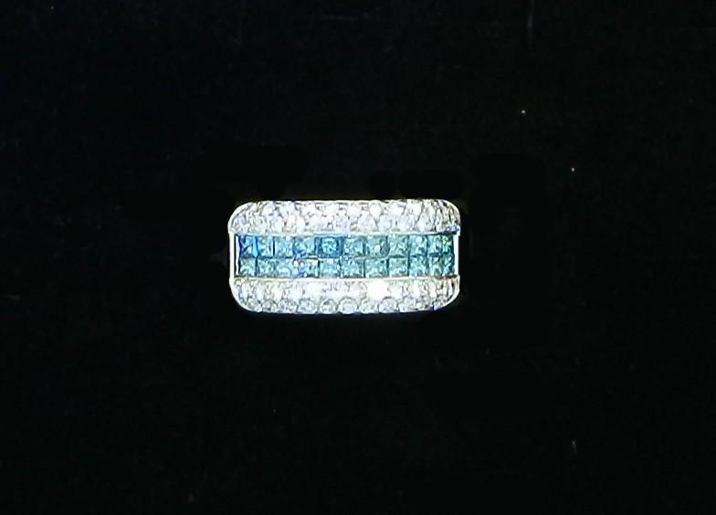Bague jonc diamants bleus