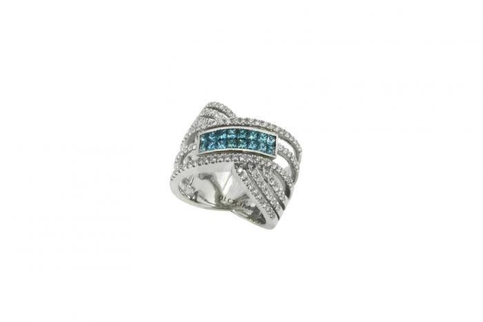 Bague 3 rangs croisés diamants