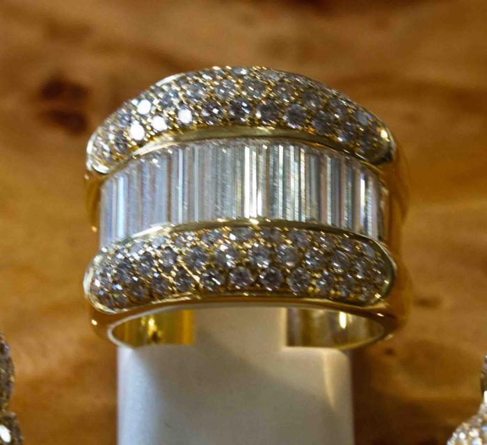 Bien-aimé Bague rétro diamants baguettes - Bijouterie Joaillerie à Paris ID93