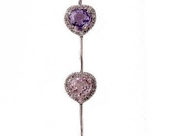 Collier coeurs avec saphirs de couleur non chauffés et diamants