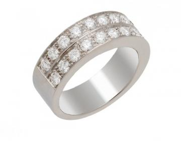 Bague 2 rangs, en or 18 carats diamants serie de 1,17 carat de diamants