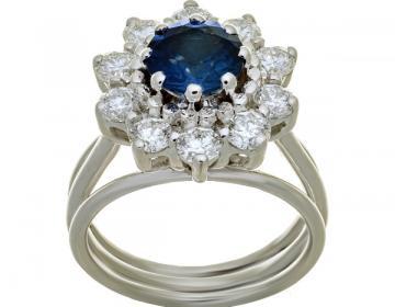 Bague en or 18 carats sertie d'un saphir de 1,52 carat et de1, 06 carat diamants