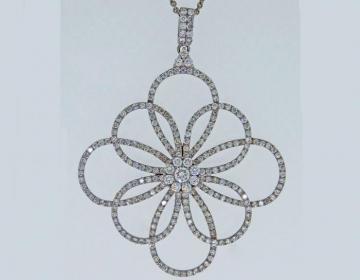 Pendentif rosace diamants