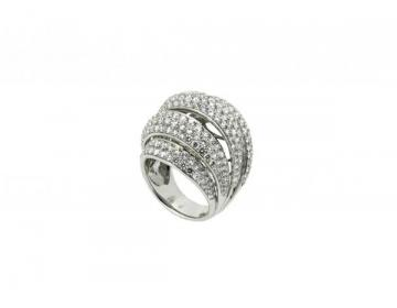 Bague boule or blanc et diamants