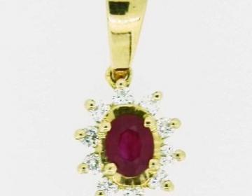 petit pendentif rubis et brillants