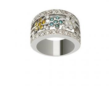 Bague large diamants de couleur