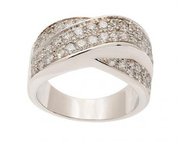 Bague large torsade or blanc et diamants