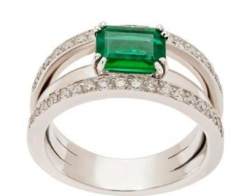 Bague émeraude taille Emeraude pesant 1,38 ct et 0,67 carat diamants