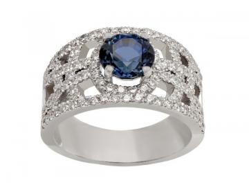 Bague anneau large saphirs et diamants