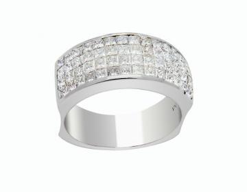 Bague diamants princesse serti invisible