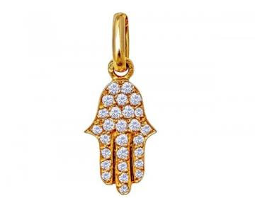 Pendentif main diamants