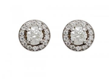 BOUCLES D'OREILLE DIAMANTS EN OR 18 CARATS SERTIES DE 1,24 CARAT DE DIAMANTS