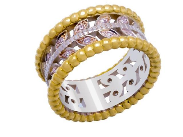 bague bicolore sertie diamants Or-Gemmes