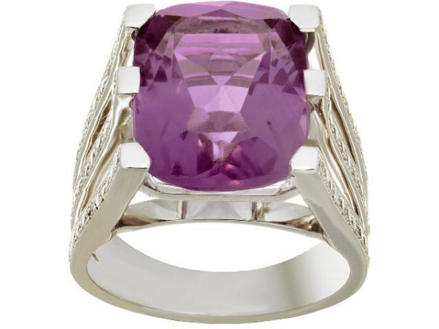 bague en or blanac 18 carats serie d'une amethyste et de 0,60 carat diamants