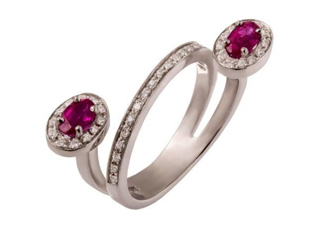 bague or 18 carats rubis et diamants or gemmes