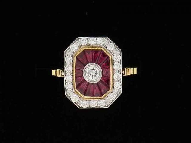 bagues rubis calibrés et diamants