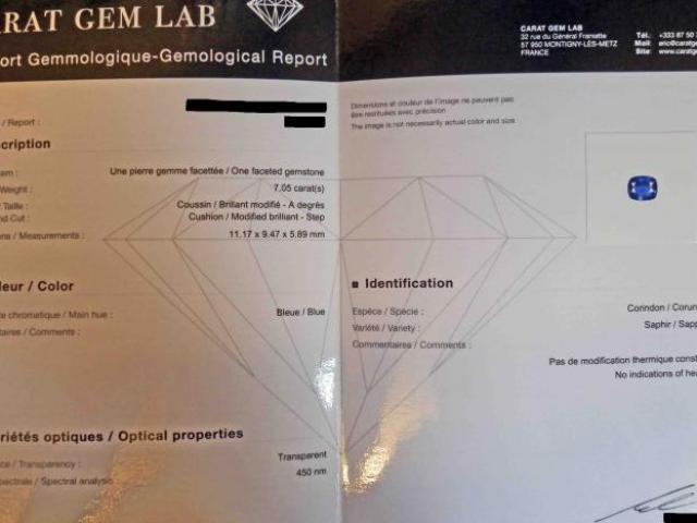 Saphir 7.05 Carats Certifié CGL