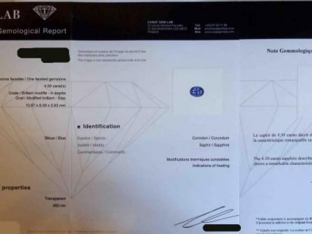 Saphir 4.50 Carats Certifié CGL