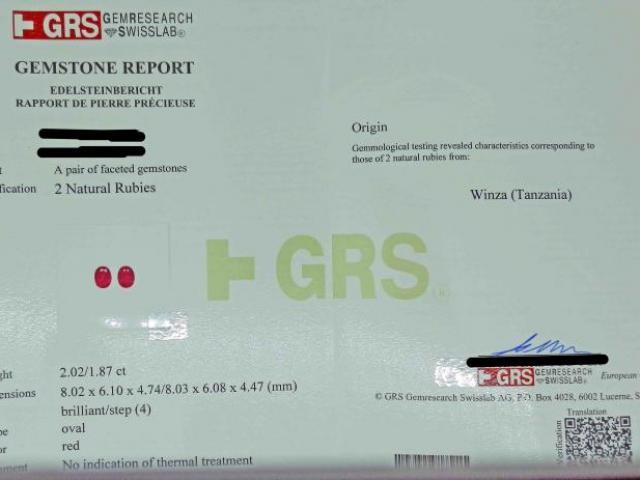 2 Rubis de TANZANIE 3.89 cts Certifiés GRS
