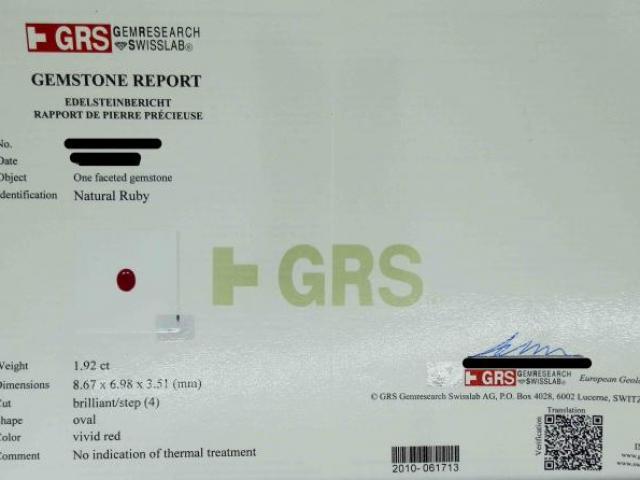 Rubis 1.92 carats certifié GRS