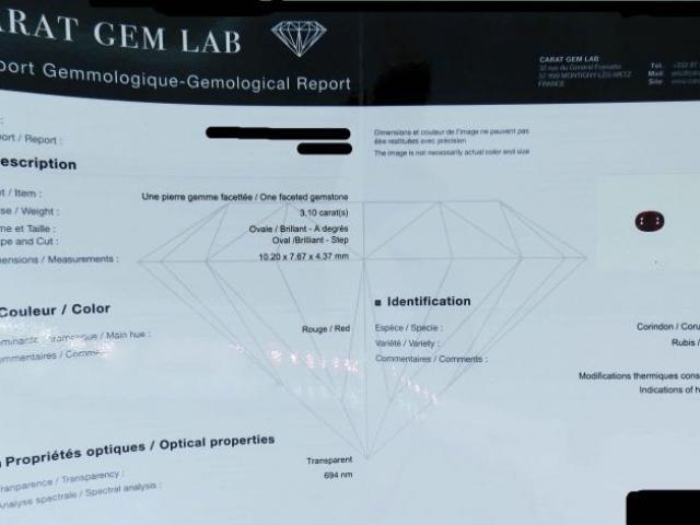 RUBIS 3.10 carats certifié CGL