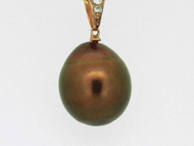 pendentif perle brune