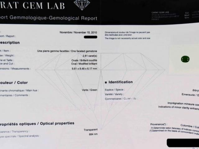 Emeraude de 2.81 carats certifiée CGL
