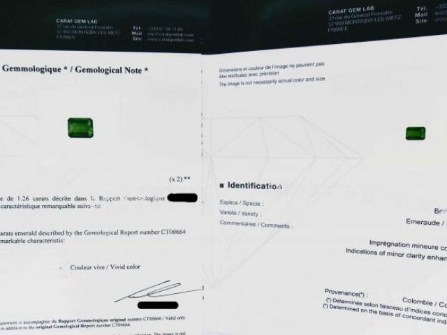 Emeraude vivid color 1.26 carats certifiée CGL