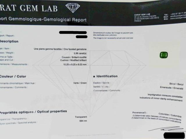 Emeraude de 3.69 cts certifiée CGL