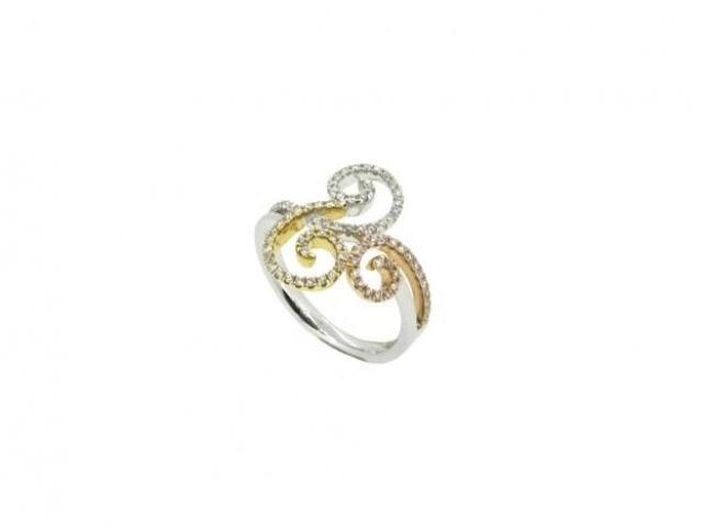 bague arabesques trois ors 18 carats sertie diamants or-gemmes