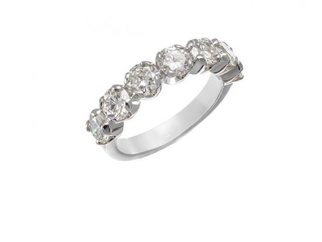 Demie Alliance sertie de diamants or gemmes