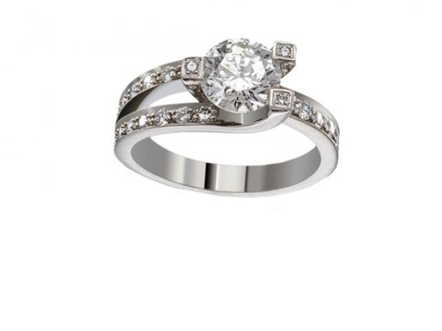 Bague de fiançailles sertie de diamants or-gemmes
