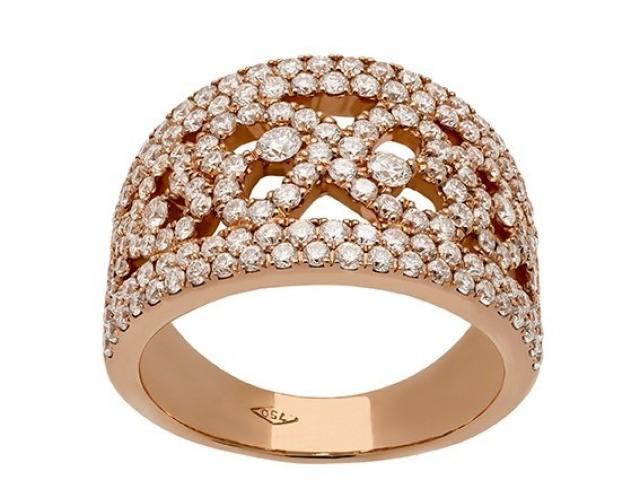Bague dentelle coeurs en or rose et diamants