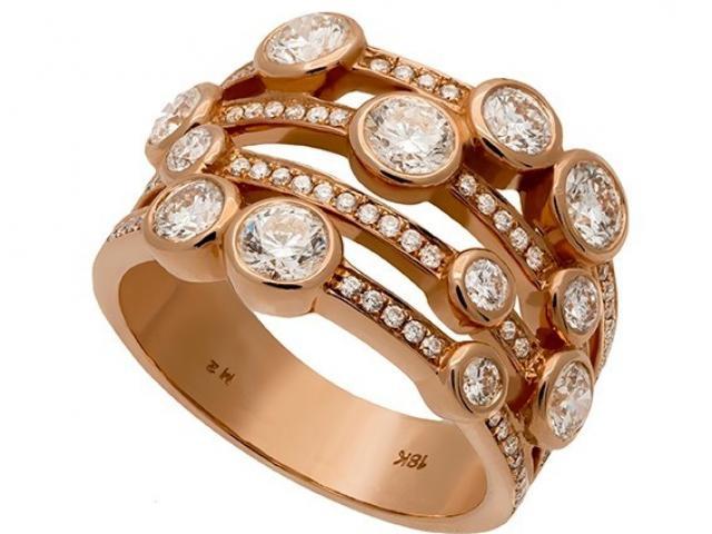 Bague or rose et diamants