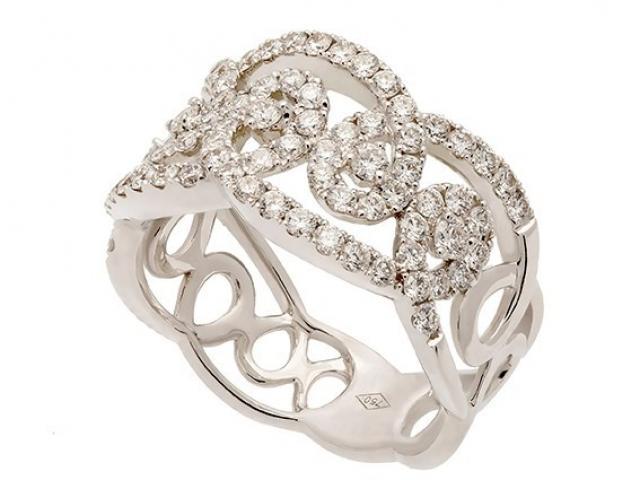 Bague dentelle or blanc et diamants