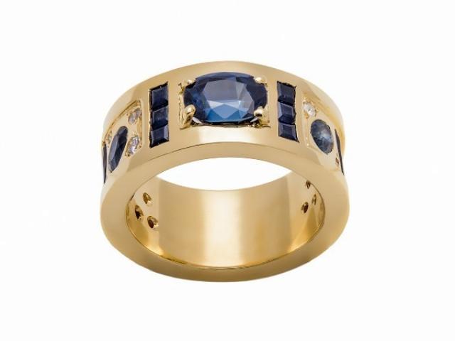 Bague or jaune 18 carats saphirs et diamants
