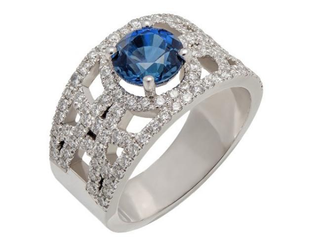 Bague jonc  en or blanc 18 carats diamants et saphir