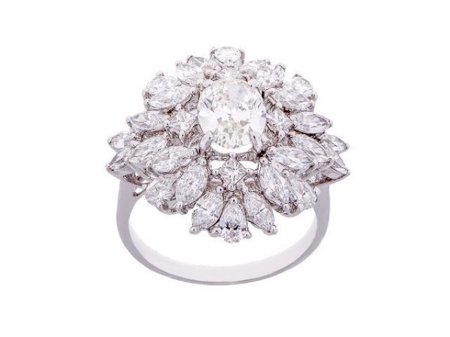 Bague solitaire Fleur de diamants Or-Gemmes